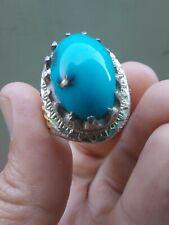 100% Natural Turquoise Feroza silver men Ring Amazing rare last piece Resizable