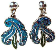 Plume & Feather Earrings Signed 1950s Taxco Mexican Sterling Silver Enamel