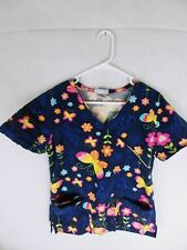 Flowers And Butterflies blue Scrub Top small