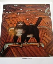 Fernando Botero  Cat on the Roof Poster Offset Lithograph Unsigned 14x11
