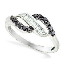 Black & White Diamond Ring 14K White Gold Baguette Diamond Twist Band .33ct