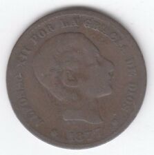 Spain  10 Centimos 1879 Alfonso XII Copper