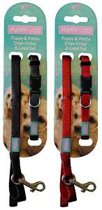 Hemm & Boo Nylon Matching Puppy Collar & Lead Set Black or Red x1