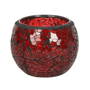 Red Crackle Glass Candle Holder Height 6.5 cm