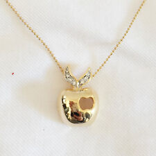 New Big Gold New York Style Crystals 3D Apple Charm Chain Necklace Gift NE1114A