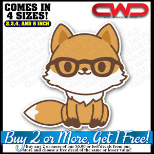 Smart Fox Glasses Intellectual Decal Sticker Car truck Laptop Phone 300360