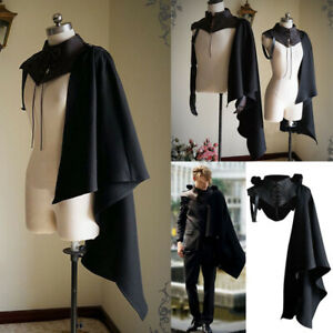 Medieval Vintage Men's Hooded Cloak Cape Knight Witch Vampire Halloween Costume