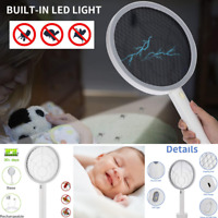 USB Electric Bug Zapper Racket, Mosquito Insect Killer, LED Light, Pest Control