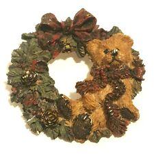 Boyds Bears Christmas Wreath Pin Brooch