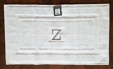 """Threshold Gray Monogram Z White Bath Mat, 18"""" x 31"""""""