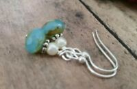Glass beaded earrings, handmade, aqua picasso, pearl, petite silver dangles
