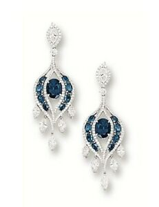 8Ct Oval London Blue Topaz Synt Diamond Chandelier Earrings White Gold FN Silver