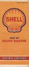Vintage 1941 SHELL OIL COMPANY Road Map SOUTH DAKOTA Black Hills Sioux City Iowa