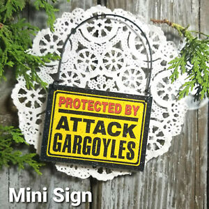 Mini Sign PROTECTED BY ATTACK Gargoyles Door Hanger Ornament DecoWords