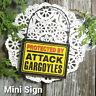 Mini Sign PROTECTED BY ATTACK Gargoyles Door Hanger Ornament DecoWords