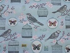 Clarke e Clarke MELODIE Duckegg Uccelli Farfalle TIMBRO Curtain Craft tessuto