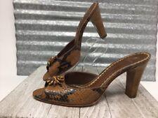 J. Vincent Women Chunky Heel Snake Print Flower embellishment Slip on Shoe Sz 8
