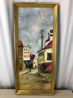 Vintage 1966 McClane Painting Town City MCM  Home Church Signed Framed