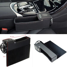 1x Right Side Black PU Leather Car Seat Gap Pocket Coin Storage Box Cup Holder
