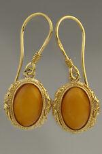 Egg Yolk Genuine BALTIC AMBER Gold Plated Silver Earrings 3.8g 180611-10