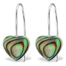 ICYROSE Sterling Silver Green Abalone Shell Heart Fish hook Earrings 2443