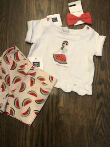 NWT Janie And Jack baby Girl red watermelon shorts SUMMER bow 3-piece SET 3 6
