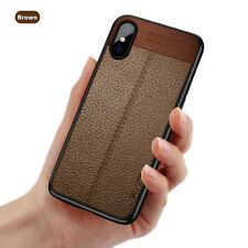 For iPhone X 8 7 Plus Ultra Thin Slim PU Leather Rubber Soft TPU Back Case Cover