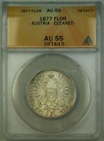 1877 Austria 1 Florin Silver Coin ANACS AU-55 Details