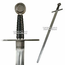 Handmade Full Tang Norman Crusader Arming Sword Peened Tang Carbon Steel Reenact