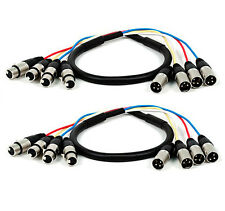 3-Feet 4-Channel XLR Male-Inch XLR Female Snake Cable (2 Pack)