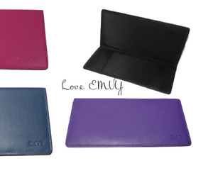 LOVE EMVY Genuine Leather Cheque Book Cover Holder Pay black purple pink navy!