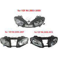 Black ABS Front Headlight Headlamp for Yamaha YZF R6 YZFR6 03-05 06-07 08-16