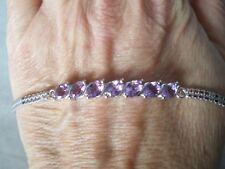 Moroccan Amethyst bracelet, 3.1 carats, 8 inches, 6.96 grams of 925 Sterling Sil