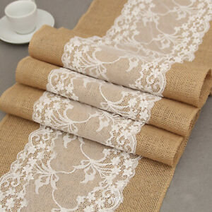 Rustic Hessian Jute Lace Table Runner Wedding Party Dinner Decor Natural Burlap