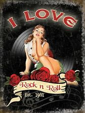 I Love Rock n Roll Records Music Retro Girl 60's Sexy pinup Small Metal/Tin Sign