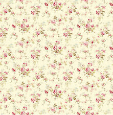 1:12 Scale Wallpaper Roses on Ivory Background - 3 Sheets - 0001197