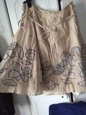 "Women's Topshop Skirt Cotton Beige Black Embroidered Folk Trend Size12 32""wVgc"