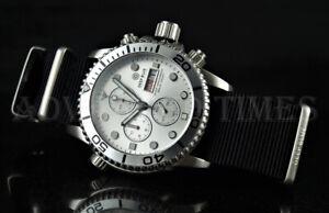 DEEP BLUE 40mm SILVER Dial & Bezel Diver 1000 SAPPHIRE Watch w/ Extra Strap NEW