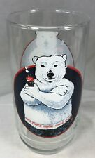 Coca-Cola Polar Bear Glass Tumbler Coke 1997 5.75 inches