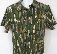 Urban Pipeline Hawaiian Style Shirt, Surfboards & Flowers, S/S, Large, COLORFUL