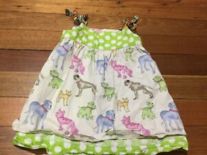 Cute Home Made Pinafore Dress Reversible Posing Dogs Green Polka Dots 4-5yrs