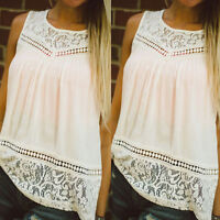 Women Summer Casual Vest Top Sleeveless Lace Blouse Tank Tops T-Shirt