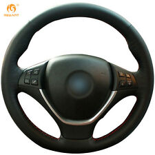 DIY Leather Steering Wheel Cover for BMW E71 X6 2008-14 E70 X5 2008-14 #0112