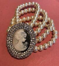 4 Row Pearl Bracelet Design Vintage