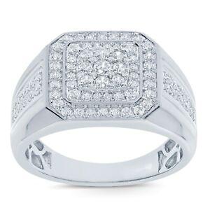 10K WHITE GOLD .98 CARAT MENS REAL DIAMOND ENGAGEMENT WEDDING PINKY RING BAND