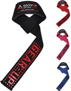Aamron® GEL Padded Weight Lifting Training Gym Straps Hand Bar Wrist WRA900