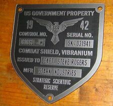 CAPTAIN AMERICA TFA SHIELD SERIAL DATA PLATE PROPERTY TAG PROP (STEEL FINISH)!