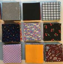 Hundreds of 3.5X3.5 inch quilt blocks solids, plaids, ginghams, prints see pics