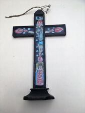 Altes Kreuz mit Hinterglaseinlegebild, Maria mit Kind, wohl Wallfahrtsandenken,