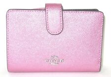 Coach Blush Pink Metallic Leather Medium Corner Zip Wallet F23256 NWT $165